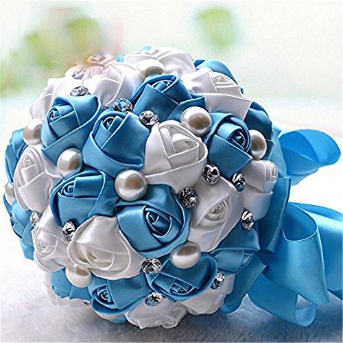 Fouriding Bouquet da Sposa Nozze Fiori Artificiali Strass Perlato Decorazione di Nozze Nastro(blu)