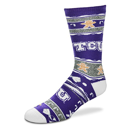 For Bare Feet NCAA Ugly Christmas Holiday Socks, Unisex, TCU Horned Frogs-Purple, Large
