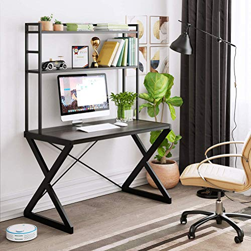 "HOMECHO 47"" Computer Desk, Wood Writing Desk with Top Storage Shelves, Study Working Desk with Bookshelf, PC Workstation Gaming Table for Home Office, Metal Frame, Dark Brown"