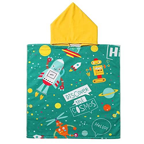 EUFANCE Toalla de baño de Playa con Capucha Toalla de Poncho de Dibujos Animados para niños, Toalla de baño de Dibujos Animados de Secado rápido para niñas / niños (Patrón de Cohete)