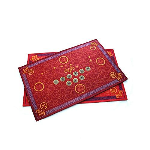 MMJJQWE 2 Piezas Feng Shui Felpudo de Buena Suerte, Resistente a Las Manchas, Alfombra de Piso de Cocina, 19.6 Pulgadas por 31 Pulgadas, para Exterior/Puerta Delantera/baño, Color Rojo
