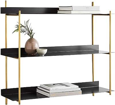 H x W x D: 41x45x23cm Iron Kitchen or Bathroom Rack 2 Tiers Black Relaxdays Floating Wall Shelf with Towel Rail