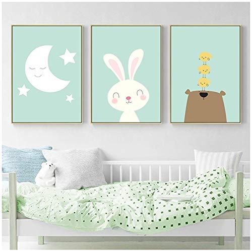 Liang Ni Inc Moon Baby Nursery Mur Art Toile Peinture Lapin Ours Bande Dessinée Animaux Affiches et Gravures Décoration De La Chambre des Enfants Photo-50x70cm sans Cadre
