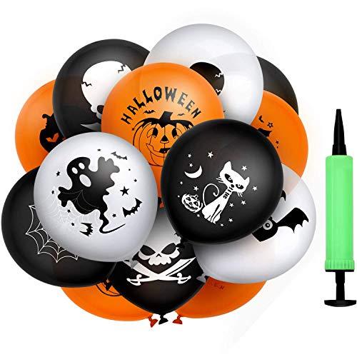 MonQi 100 piezas de globos de látex espesantes de buena capacidad de sellado con bomba de aire, 9 patrones populares de elementos de Halloween, se pueden inflar por completo a 30 cm