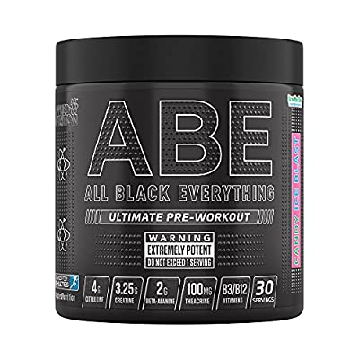 Applied Nutrition ABE - All Black Everything Pre Workout Energy, Increase Physical Performance with Citrulline, Creatine, Beta Alanine, Caffeine Vitamin B Complex, 315g, 30 Servings (Candy Ice Blast)