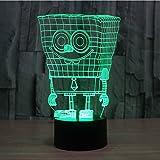 SUPERNIUDB 3D Sponge 3D Night Light Table Desk Optical Illusion Lamps 7 Color Changing Lights