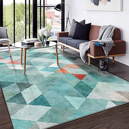 HXJHWB Alfombra Pelo Corto Pastel Diseño - Triángulo Multicolor Costura Alfombra de Pelo Corto Interior impresión 3D Antideslizante-Los 40CMx60CM