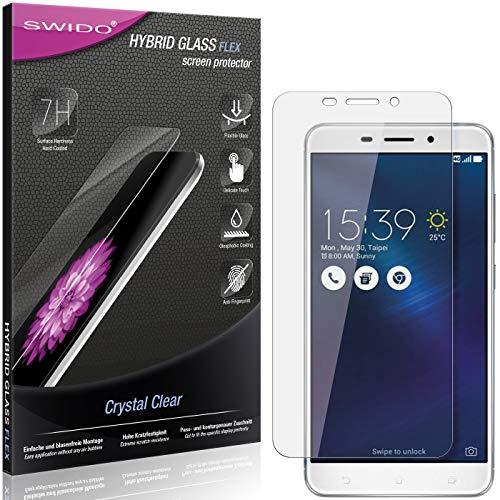 SWIDO Panzerglas Schutzfolie kompatibel mit Asus Zenfone 3 Laser Bildschirmschutz-Folie & Glas = biegsames HYBRIDGLAS, splitterfrei, Anti-Fingerprint KLAR - HD-Clear