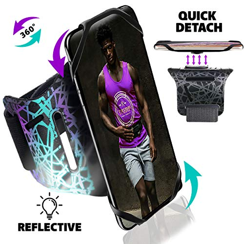 Tribe Reflective Running Phone Armband Holder for iPhone, Galaxy, Workout Arm Band, Women, Men. 360° Rotation & Detachable. Fits All 4-7 Inch Screen Phones Plus Case. Adjustable Strap, Pocket & More!