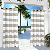 Exclusive Home Curtains Indoor/Outdoor Stripe Cabana Grommet Top Curtain Panel Pair, 54x96, Cloud Grey, 2 Piece