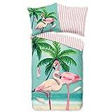 Aminata Kids Bettwäsche 135 x 200 Flamingo-Motiv Baumwolle rosa mit Reißverschluss, Tropical mit Vogel-Motiv - Wende-Bettwäsche-Set weich & kuschelig