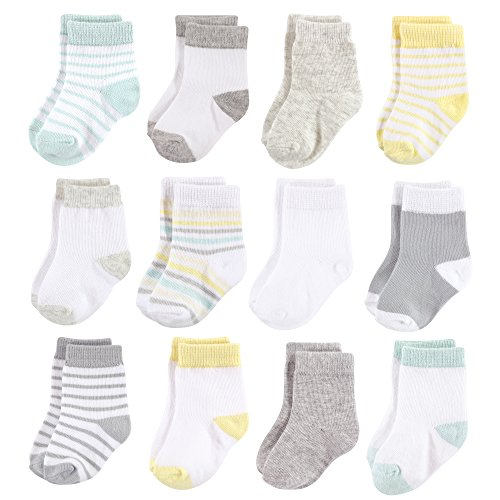 Hudson Baby Baby Basic Socks, Neutral Stripe 12-Pack, 6-12 Months