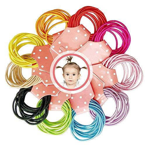 XCOZU 100 stuks elastische baby haarelastiekjes, 10 kleuren mini haarelastiekjes haarbanden geen metaal, dun haar wiebelt paardenstaarthouder voor baby meisjes kinderen kinderen 3 cm x 0,2 cm