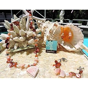 Orange Scolecite W/Fire Opal in .925 Sterling ~ Carnelian, Peach Agate, White Potato & Copper Keishi Pearl, Crystal & Pewter Necklace, Bracelet & Earrings