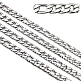 4.5mm Width 33ft Stainless Steel Figaro Chains Findings Silver Tone Fit for Jewelry Making &DIY (SC-1000-B)