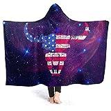 Inaayayi Manta polar con capucha, manta de forro polar con diseño de la bandera de los Estados Unidos de Guerrero Buffalo, manta supersuave para cama, sofá, ligera, para viajes, camping, para niños y adultos, negro, 50'x40'
