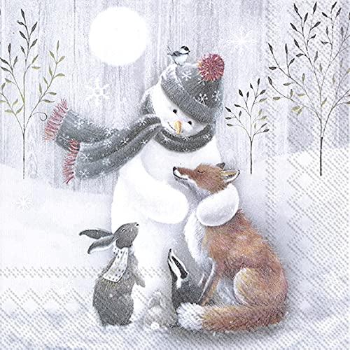 20 servilletas con muñeco de nieve abrazando a todos, zorro, conejo, animales, invierno, Navidad, decoración de mesa, 33 x 33 cm