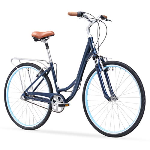 "sixthreezero Body Ease Women's 3-Speed Comfort Bike, 26"" Wheels/ 17"" Frame, Navy Blue, 17""/One Size"