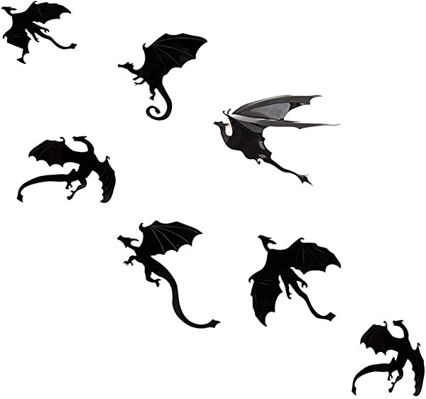 MGOGO 3D Dragon Wall Sticker 7 Packs Wall Decal DIY Scary Black Dragon Removable Window Stickers Halloween Party Supply Home Decoration