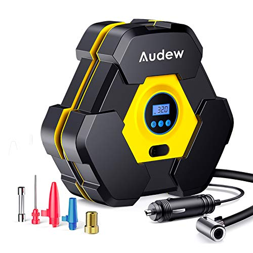 Audew Portable Air Compressor Tire Inflator with Gauge, Auto Digital Air Pump for Car Tires with Extra LED Light, DC 12V 150 PSI Tire Pump for Car,Bicycle,Motorcycle,Basketball,Pool Toys