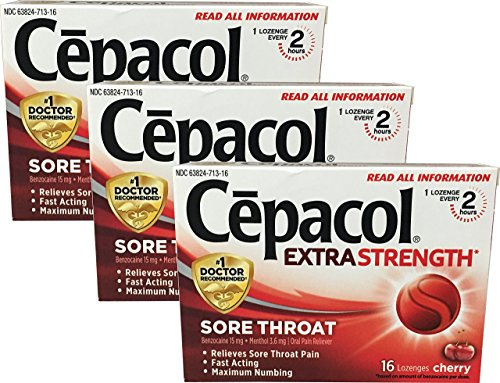 Cepacol Extra Strength Sore Throat, 16 Lozenge, 3-pack, Cherry