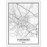 ZWXDMY Leinwand Bild,Deutschland Nürnberg Stadtplan