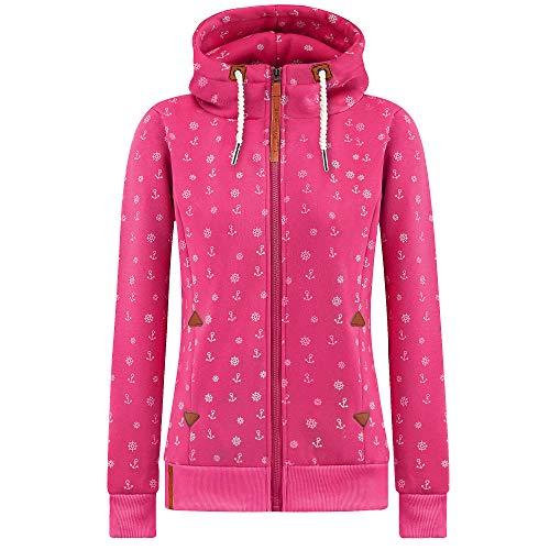 Newbestyle Jacke Damen Sweatjacke Kapuzenpullover Oberteile Hoodie Sweatshirtjacke Pullover mit Kapuze (Rosa, L)