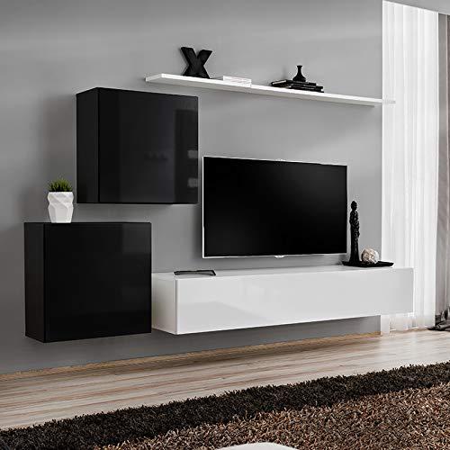 Noviomeuble - Mueble para TV, color negro y blanco: Amazon.es: Hogar