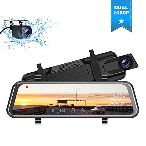 """TOGUARD Backup Camera 10"""" Mirror Dash Cam, Dash Cam Front and Rear Full Touch Screen Video Streaming Rear View Mirror Camera,Night Vision Waterproof 1080P Rear Camera"""