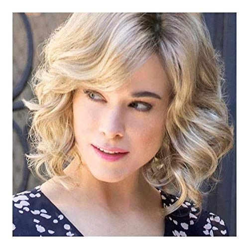 ERGDFH 14 inchs Short Bob Blonde Wigs for White Women Natural Curly Wavy Synthetic Female Hair Wig with Dark Roots Side Parting Full Wigs with Free