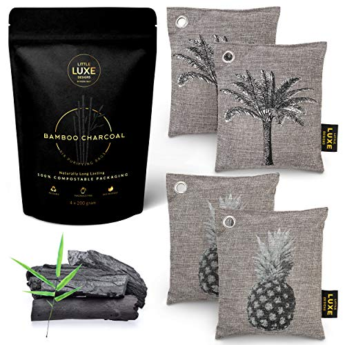 Bamboo Charcoal Air Purifying Bag 4 Pack - Natural Activated Charcoal Odor Absorber And Eliminator For Home - Eliminate Odors Naturally For Up To 2 Years With Reactivating Charcoal Air Purifier Bags