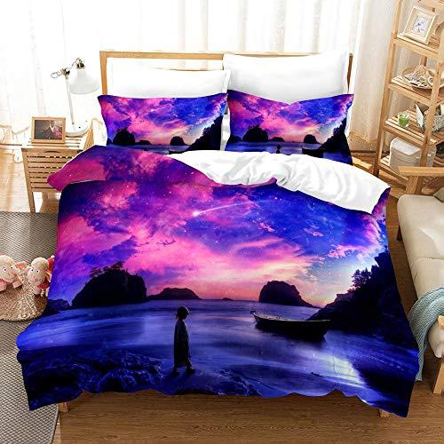CC.Stars Bedding Set With Pillowcases Printed duvet cover,Landscape beach duvet cover, 3D landscape pattern printing 3-piece set, bedding with 2 pillowcases-9_GB-Super King260cm×220cm