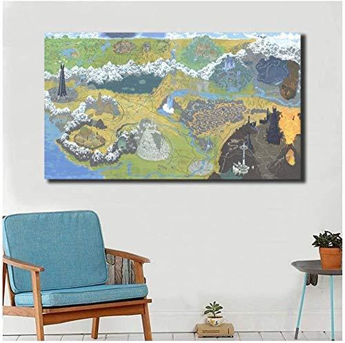 XIANGLL Cuadro En Lienzo,Mapa de la Tierra Media del Señor de los lienzos Impresiones Arte de la Pared Pintura Imagen Decorativa Decoración del hogar HD-50x100cm
