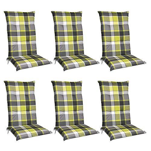 Beautissu 6er Set Sunny GR Niedriglehner Auflagen Set für Gartenstühle 100x50 cm Polster in Grün Kariert - Bequeme Gartenstuhl Stuhlkissen Polsterauflagen mit UV-Lichtecht