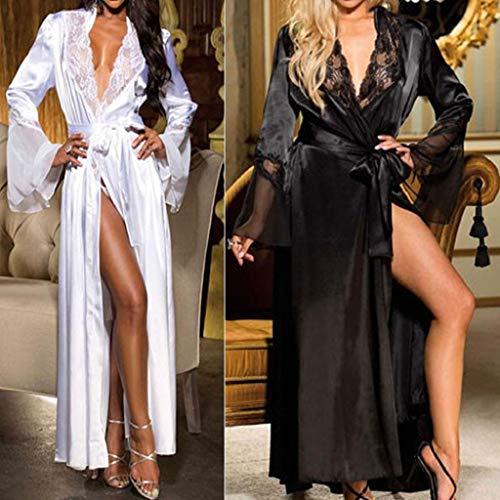 SHOBDW Ropa de Dormir Mujeres Sexy Largo Satén De Seda Kimono Suave Bata Camisón Babydoll Encaje Sexy Lencería Ropa Interior Ropa De Dormir SPA Gimnasio Bata De BañO(Negro,L)
