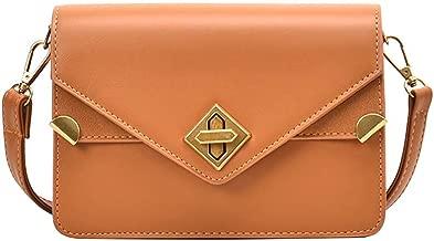 LEKODE Women Simple Shoulder Bag Ladies Strap Hasp PU Travel Party Wedding Covered Handbag(Yellow)