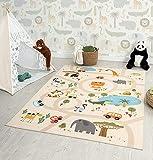 the carpet Happy Life Kinderzimmer, Kinderteppich, Spielteppich, Waschbar, Straßenteppich, Straße, Dschungel, Tiere, Auto, Beige, 120 x 160 cm