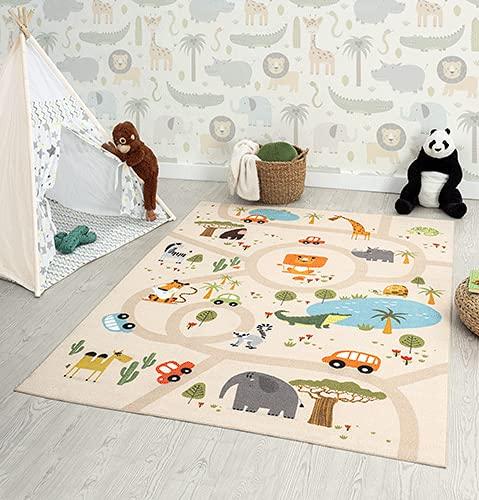 the carpet Happy Life Chambre Enfant Tapis De Jeux Lavable Tapis De Route Jungle Animaux Voiture Beige 120x160cm