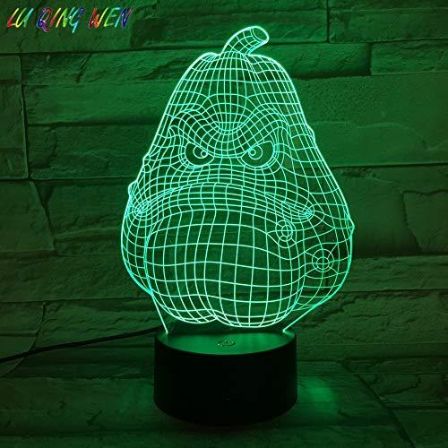 Pflanzen Vs Zombies Squash Tracy 3D LED Nachtlicht USB Tischlampe Kinder Geburtstag Geschenk Nachtbett Dekoration