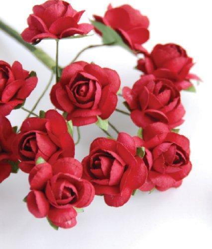 Zva Creative 129009 Mini Rose Bulk Paper Flowers .5 in. - 12mm - 144 Stems-Classic Red