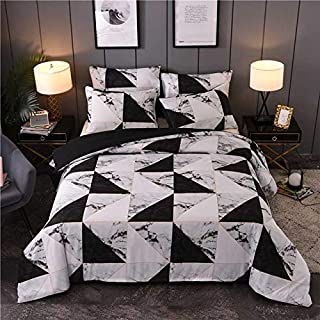 JZCXKJ 12 Colors Bedding Set Nordic Modern Style Marble Pattern Printed Duvet Cover SetDouble Full Queen King Size Bed Linen 8 Size 200x200cm (3Pcs) 3