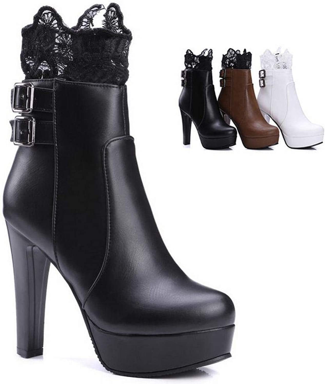 IG Damen Damen Damen Stiefel - Herbst Und Winter Martin Stiefel Lace Stiefelies Fashion High Heel Damen Stiefel 34-43,Schwarz,36  c21464