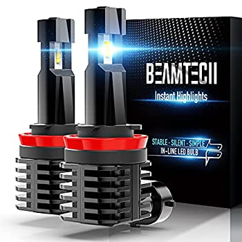 BEAMTECH H11 LED Bulb 12000LM 50W Fanless In Line H8 H9 Halogen Replacement 6500K Xenon White