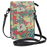 XCNGG bolso del teléfono Coral And Green Floral Cell Phone Purse Wallet for Women Girl Small Crossbody Purse Bags