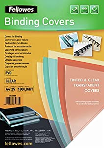 Fellowes Portadas para encuadernar de PVC transparente, formato A4, 180 micras, pack de 25