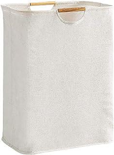 MJARTORIA ランドリーバスケット ランドリーボックス 大容量 洗濯ボックス 収納ボックス 収納バッグ 洗濯物入れ 衣類収納 毛布 赤ちゃん 雑貨 折り畳み式 撥水加工 防水 綿麻生地 (白い, 27×40×56cm 容量60L)