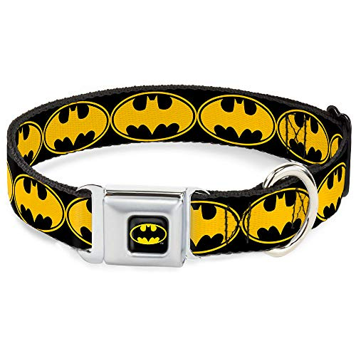 "Buckle-Down Seatbelt Buckle Dog Collar - Bat Signal-3 Black/Yellow/Black - 1"" Wide - Fits 15-26"" Neck - Large"