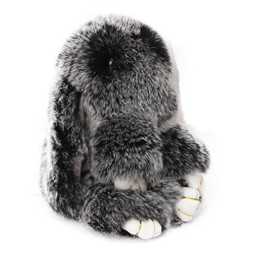 ACTLATI Soft Cute Rabbit Fur Keyring Bunny Charm Ring Keyfob Pompom Fluffy Keychain Decoration