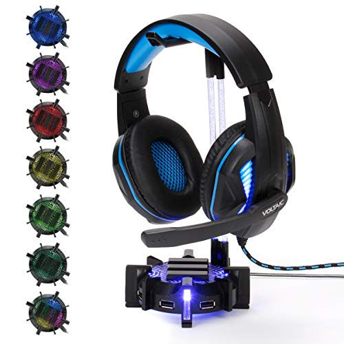 ENHANCE Gaming Headset Stand Headphone Holder with 4 Port USB Hub, Customizable LED Lighting, Flexible Acrylic Neck - Universal Hanger with Weighted Base for Home Work Station Organization