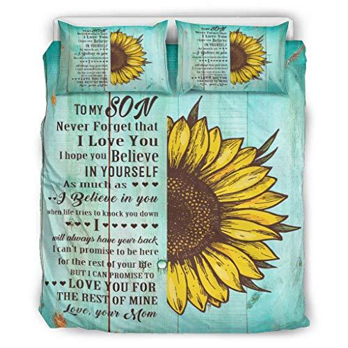 LIFOOST Bettdecke to My Son Leichte - 3-Teiliges Bettbezug-Set für Jungen Schlafzimmer White 229x229cm